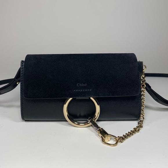 Chloe Handbags - Chloe Mini Faye Black Leather Wallet on Chain